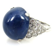 AGL 23.77ct Natural Untreated Sapphire & 2.0ct Diamond 14K White Gold Ring OA27-006