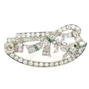 Antique Art Deco 4.50ct Diamond & Emerald Filigree Decorated Platinum Pendant Brooch RS3-006