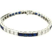 Antique Art Deco 2.0ct European Cut Diamond & Synthetic Sapphire Platinum Bracelet WN39-006