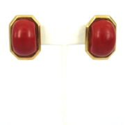 Vintage Natural Untreated Ox Blood Coral & 18K Yellow Gold Dome Clip Earrings OA27-007