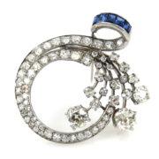 Antique 4.0ct Old Mine Cut Diamond & 1.0ct Sapphire Platinum Circle Pin RS3-007