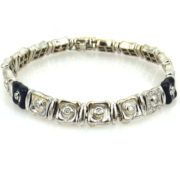Estate BBP Italy 0.55ct Diamond & Enamel 18K White Gold Bracelet WN39-007