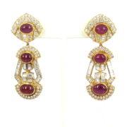 Vintage 12.68ct Diamond & 8.0ct Ruby 18K Yellow Gold Dangling Drop Earrings OA27-008