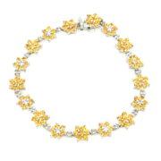 Fine Siro 0.35ct Diamond & 6.98ct Sapphire 18K White Gold Flower Bracelet WN39-008