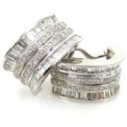 Estate 4.50ct Round & Baguette Diamond 18K White Gold Pierce Clip Earrings A&N231-009