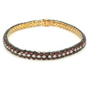 Marco Valente 4.16ct Black & White Diamond 2.85ct Orange Sapphire 18K Rose Gold Bracelet WN39-009
