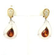 Vintage 1.50ct Diamond 6.0ct Citrine & Rock Crystal 18K Gold Drop Earrings A&N231-010