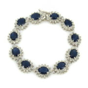 Vintage 4.0ct Diamond & 24.50ct Sapphire 14K White Gold Halo Bracelet WN39-010