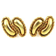 Vintage 18K Yellow Gold Double Tear Drop Rope Design Clip Earrings A&N231-011