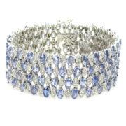 Estate 3.0ct Diamond & 20.90ct Tanzanite 18K White Godl Wide Bracelet WN39-012