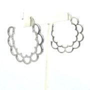 Rare Poiray 0.84ct Diamond & 18K White Gold Flower Hoop Earrings WN39-013