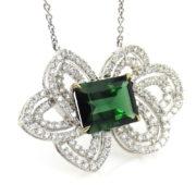Estate 7.0ct Chrome Green Tourmaline & 2.50ct Diamond 18K White Gold Necklace A&N231-013