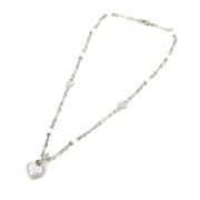 Estate Judith Ripka Diamond & Pearl 18K White Gold Studded Heart Necklace A&N231-014