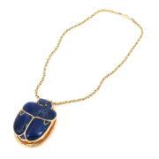Vintage Natural Lapis Lazuli & 14K Gold Massive Egyptian Revival Scarab Necklace A&N231-015