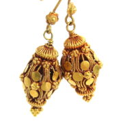 Vintage 18K Yellow Gold Hand Made Decorated Lantern Drop Earrings A&N231-012
