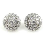 Vintage 3.50ct European Cut Diamond & 18K White Gold Cluster Earrings RS3-003