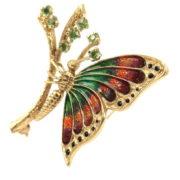Vintage 0.50ct Peridot & Enamel 14K Yellow Gold Butterfly Brooch OA28-001