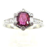 Fine 1.0ct Mixed & French Cut Diamond 1.25ct Ruby 18K White Gold Ring PB1-001