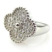 Estate Van Cleef & Arpels Alhambra 0.75ct Diamond & 18K White Gold Ring ZC17-001
