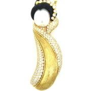Vintage Henry Dunay Diamond Pearl & Wood 18K Yellow Gold Geisha Brooch OA28-002