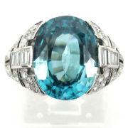 Unique 5.0ct Natural Blue Zircon & 1.50ct Diamond Platinum Hand Made Ring PB1-002