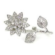 Estate Van Cleef & Arpels Lotus 2.50ct Diamond & 18K White Gold Ring ZC17-002
