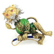 Vintage Diamond Ruby & Enamel Platinum & 18K Gold Hand Carved Circus Lion Brooch OA28-003