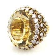 Vintage David Webb 30.0ct Citrine & 5.50ct Diamond Platinum & 18K Yellow Gold Cocktail Ring ZC17-003