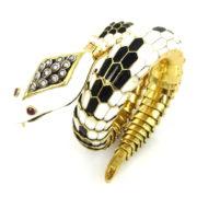 Vintage Diamond Ruby & Enamel 18K Gold Ebel Snake Watch Bangle OA28-004