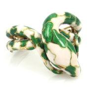 Vintage White & Green Enamel 18K Yellow Gold Coiled Snake Hinged Bangle OA28-005