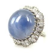 Vintage 60.0ct Natural Star Sapphire & 6.0ct Diamond 18K White Gold Ballerina Ring ZC17-005