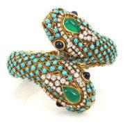 Vintage 5.0ct Diamond Turquoise & Chalcedony 18K Yellow Gold Double Snake Bangle OA28-007