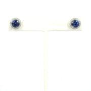 Estate Tiffany & Co Tanzanite & Diamond Platinum Halo Stud Earrings ZC17-007