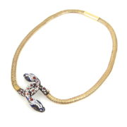 Antique French Multi Color Enamel Silver & 18K Yellow Gold Snake Necklace OA28-008