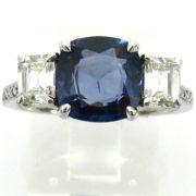 Fine 1.20ct Emerald Cut Diamond & 2.50ct Cushion Cut Sapphire Platinum Ring  PB1-008