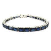 Antique 15.0ct Step Cut Sapphire & Platinum Decorated Tennis Bracelet PB1-009