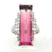 Estate 12.66ct Emerald Cut Pink Tourmaline & 0.69ct Diamond Platinum Ring WN40-019