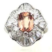 Estate 1.99ct Imperial Topaz & 1.44ct Diamond Platinum Ballerina Ring WN40-020