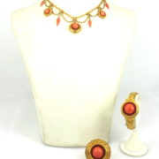 Antique Victorian Natural Untreated Coral & 15K Yellow Gold Necklace Bracelet Brooch Set WN40-021