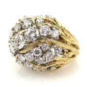 1960's David Webb 4.50ct Diamond Platinum & 18K Yellow Gold Tendrill Dome Ring ZC17-004
