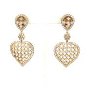Estate Boucheron 9.0ct Diamond & 18K Yellow Gold Heart Drop Earrings ZC17-006