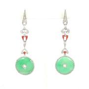 Vintage 2.75ct Diamond Coral & Jadeite Jade 18K White Gold Drop Earrings SM24-001