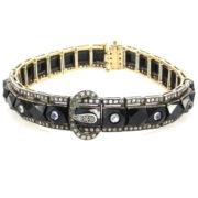 Antique 4.50ct Rose Cut Diamond Moonstone & Onyx Silver & Gold Bracelet Rami28-001