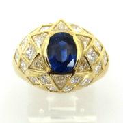 Vintage 1.30ct Royal Blue Sapphire & 3.50ct Diamond 18K Yellow Gold Ring JW65-001
