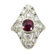 Antique 1.50ct Ruby & 1.0ct Old Mine Cut Diamond Filigree Decorated Navette Ring Rami28-002