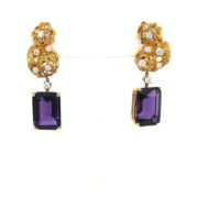 Vintage 30.0ct Amethyst & 1.10ct Diamond 18K Yellow Gold Hand Made Earrings SM24-002
