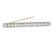 Art Deco JE Caldwell1 & Co 3.75ct DE/VS European Cut Diamond  Platinum & Gold Bar Pin WN42-02