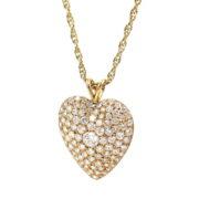 Estate 3.0ct DE/VS Diamond & 14K Yellow Gold Pave Heart Necklace SM25-002