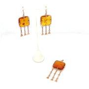 Vintage Natural Amber & 14K Yellow Gold Dangling Drop Earrings & Pendant Set JW65-002