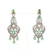 Vintage 3.50ct Diamond & 4.0ct Emerald Silver & 18K Gold Large Drop Earrings SM24-003